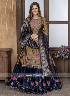 Dark Goldenrod Cotton Silk Lehenga Salwar Suit