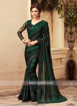 Dark Green and Black Party Wear Saree
