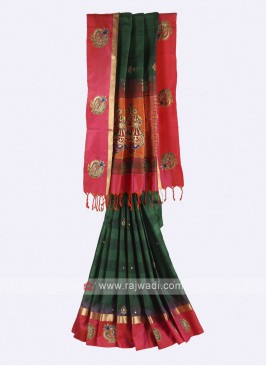 Dark green and crimson pure silk saree