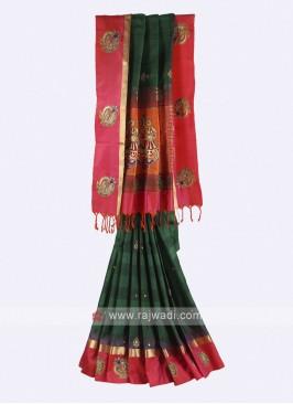 Dark green and crimson pure silk saree