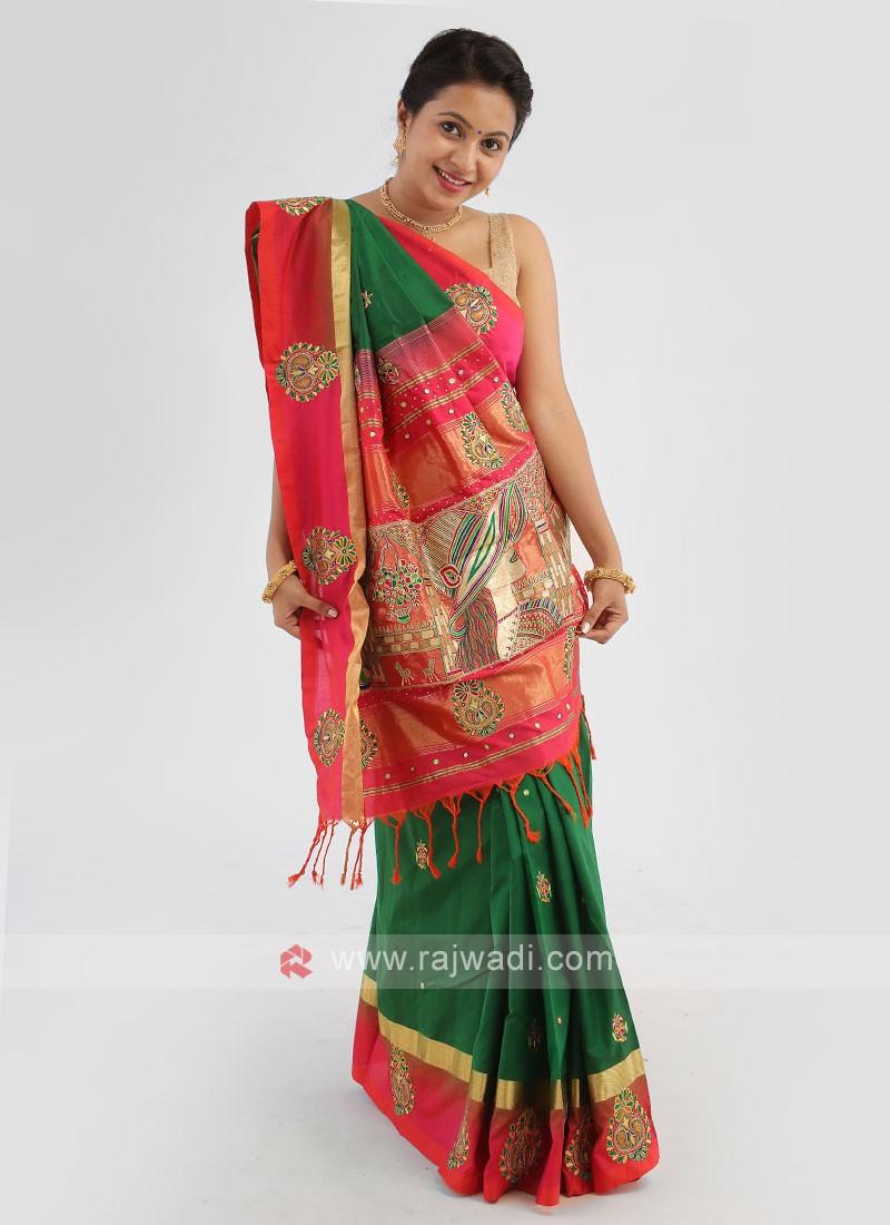 Dark Green And Crimson Silk Saree