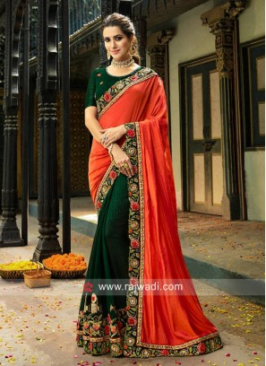 Dark Green and Orange Half n Half Saree