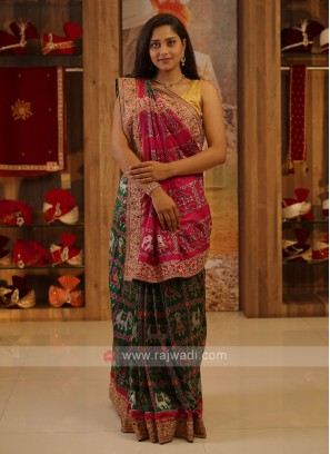 Dark Green And Rani Silk Saree