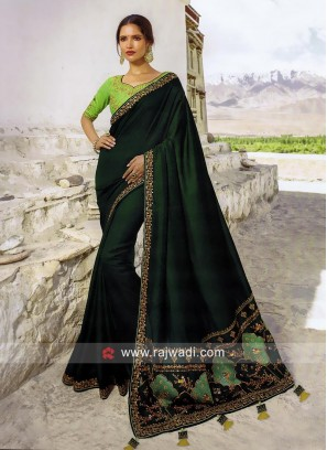 Dark Green Art Silk Saree