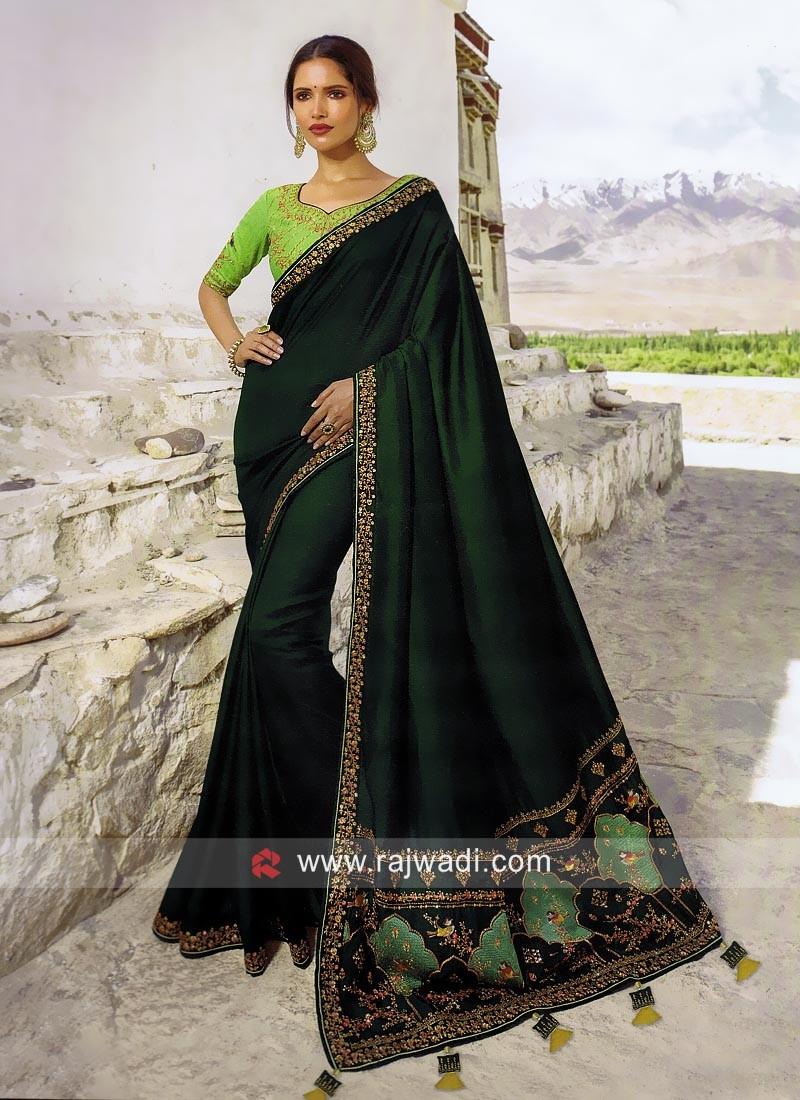 Dark Green Art Silk Saree