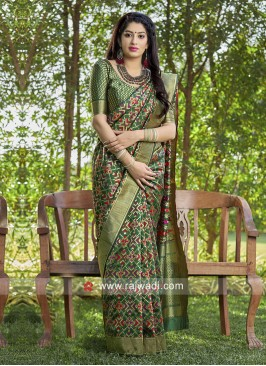 Dark Green Banarasi Silk Saree