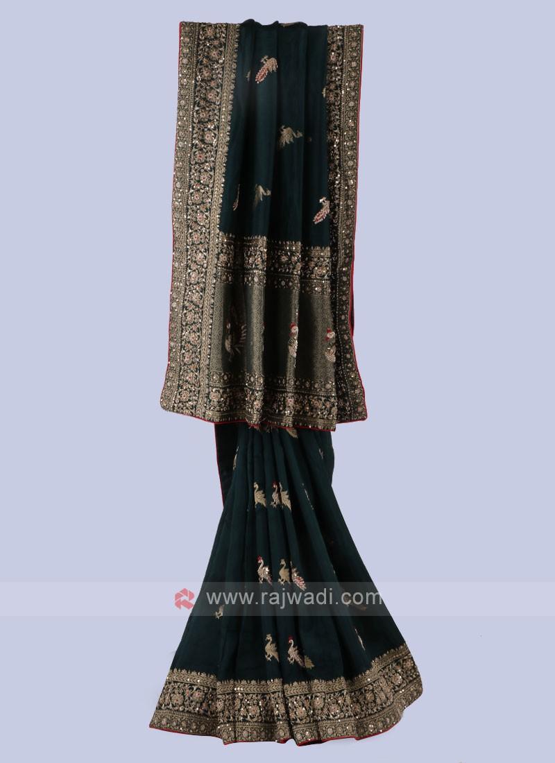 Dark Green Banarasi Silk Saree