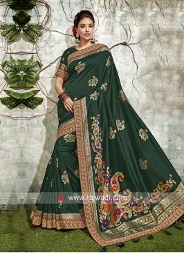 Dark Green Banarasi Silk Weaving Saree