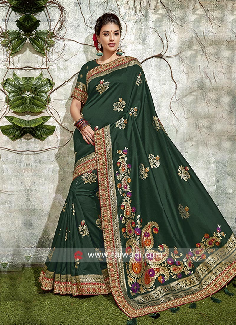 Dark Green Banarasi Silk Weaving Saree