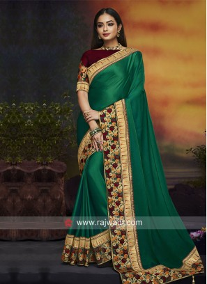 Dark Green Border Work Saree