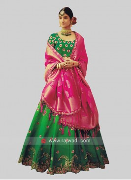 Dark Green Butter Silk Lehenga Set