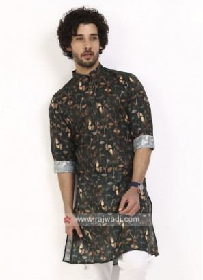 dark green color printed kurta