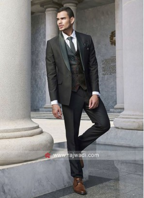 Dark Green Color Suit For Party