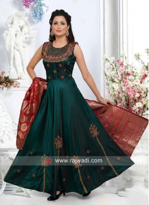 Dark Green Embroidered Anarkali Dress