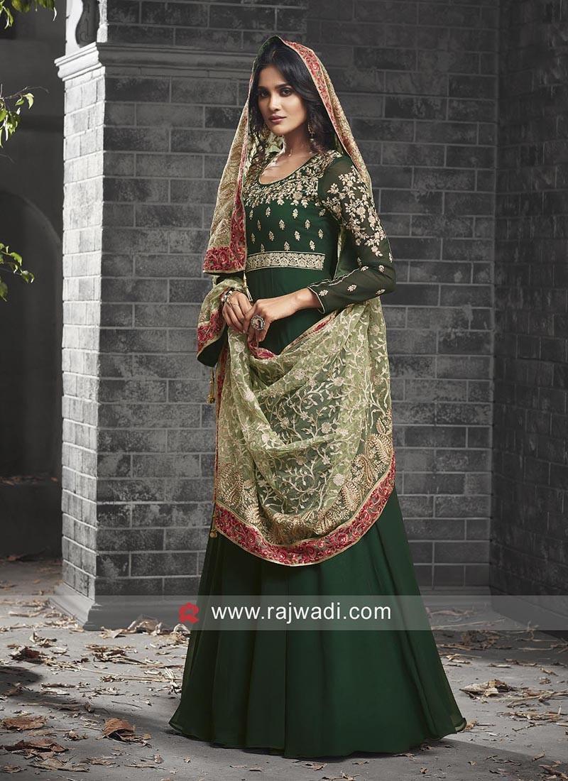 Dark Green Embroidered Anarkali Salwar Kameez