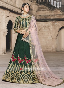 Dark Green Embroidered Lehenga Choli