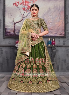 Dark Green Embroidered Lehenga Set