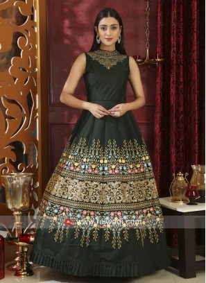 Semi Stitched Dark Green Embroidered Neckline Gown