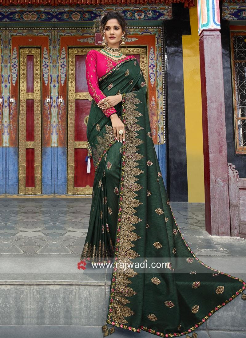 Dark Green Heavy Embroidered Saree
