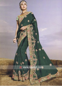 Dark Green Heavy Work Saree