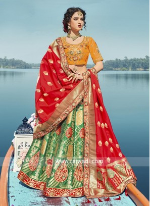 Dark green, mustard yellow and red lehenga choli
