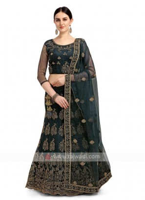 Dark Green Net Lehenga Choli