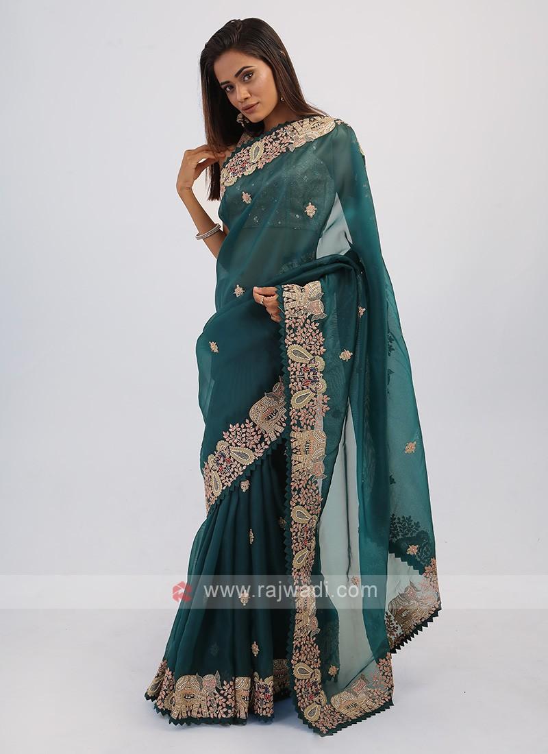 Dark Green Net Saree