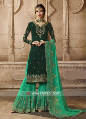 Dark Green Pakistani Gharara Suit for Eid