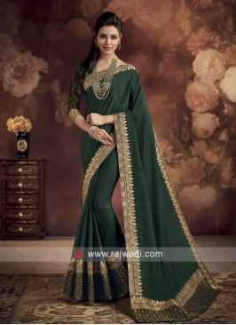 Dark Green Plain Saree with Border