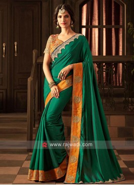 Dark Green Plain Saree with Patch Work Border