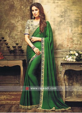 Dark Green Plain Sari with Golden Cream Blouse