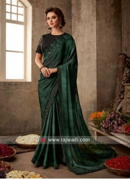 Dark Green Saree with Black Blouse