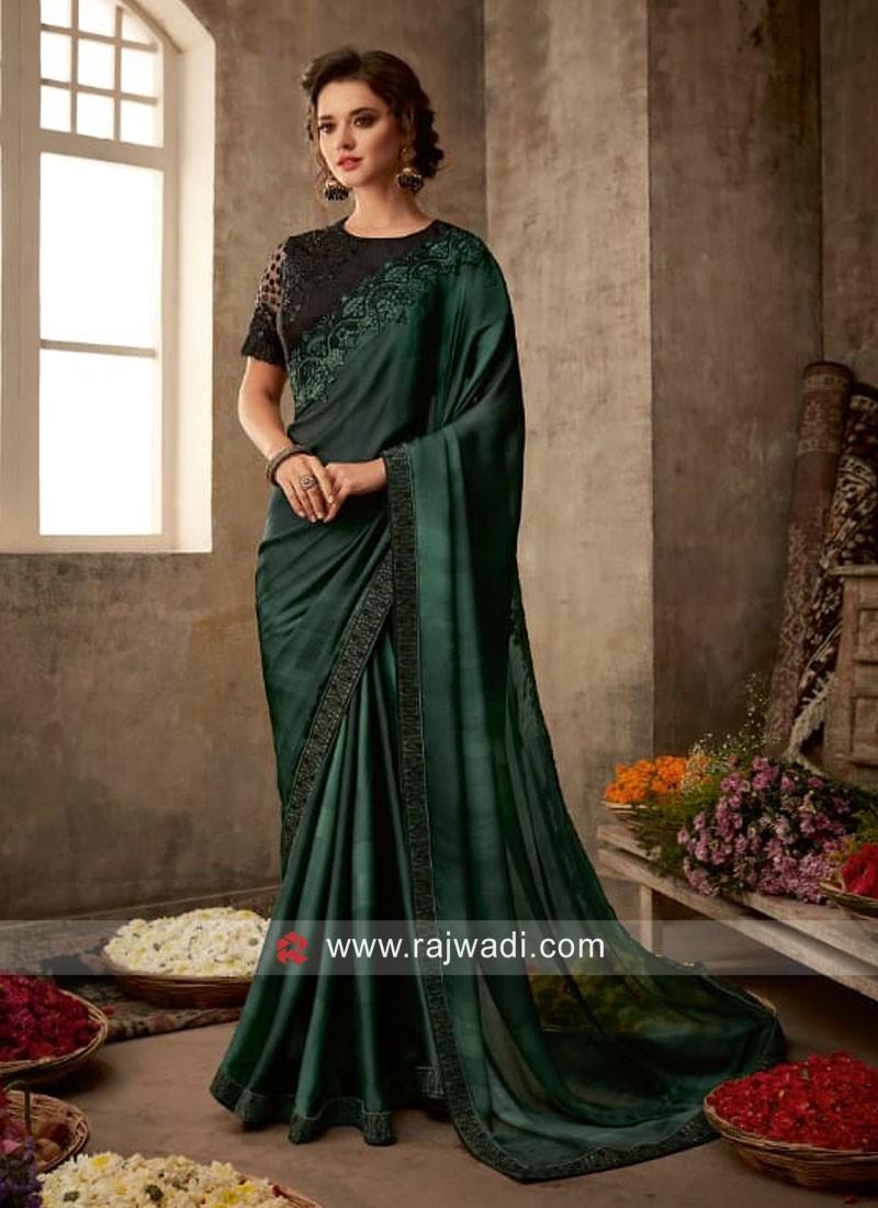 Dark Green Saree with Black Blouse