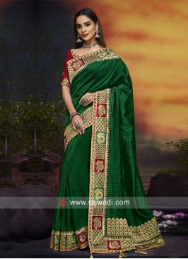 Dark Green Saree with Maroon Blouse
