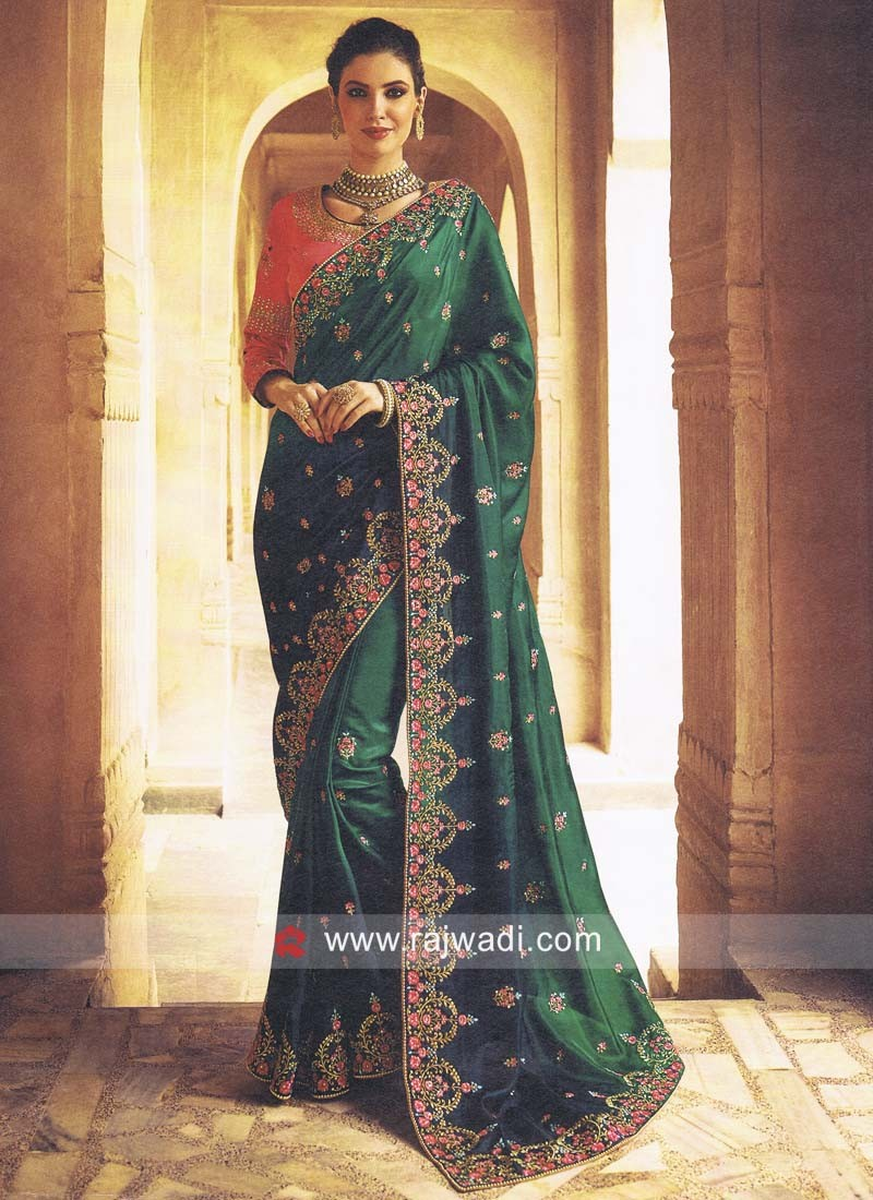 Dark Green Saree with Unstitched Blouse