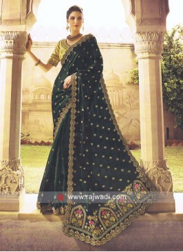 Dark Green Sari with Cut Work Border