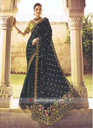Dark Green Sari with Cut Work Border