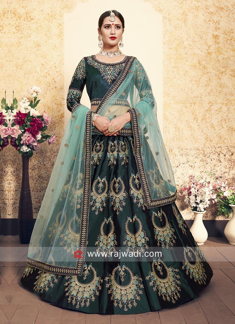 8e793d82f1 Dark Green Satin Lehenga Choli