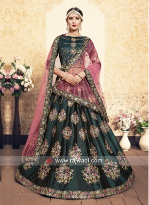 Dark Green Satin Lehenga Choli