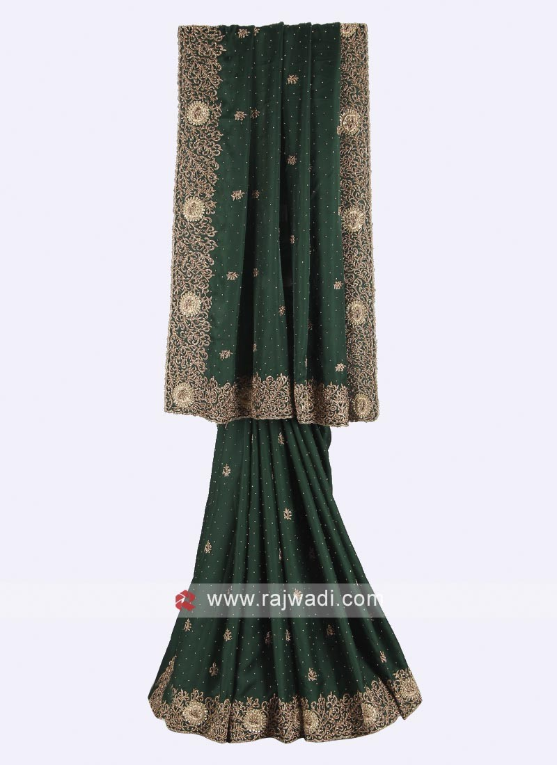 Dark green satin silk saree