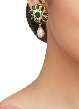 Dark Green Stone Work Stud Earrings
