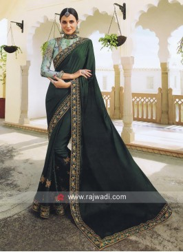 Dark Green Wedding Saree with Blouse