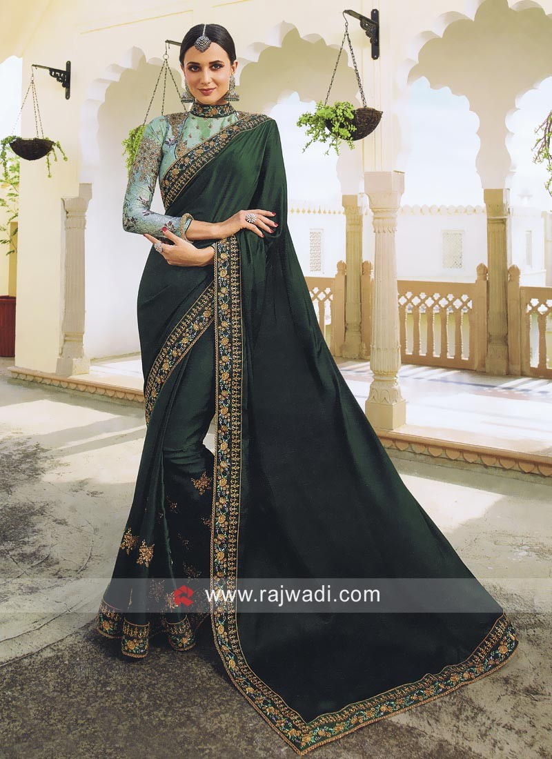 fcbc8f10e03743 Dark Green Wedding Saree with Blouse. Hover to zoom