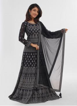 Dark Grey Anarkali Suits For Wedding In Chiffon