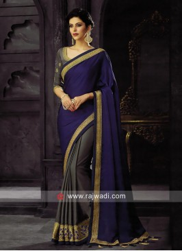 Dark Grey and Dark Blue Half Saree