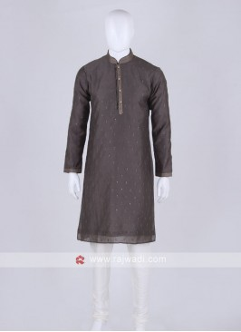 dark grey and off white kurta pajama