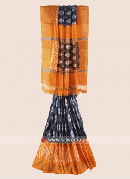 Dark Grey and Orange Patola Saree