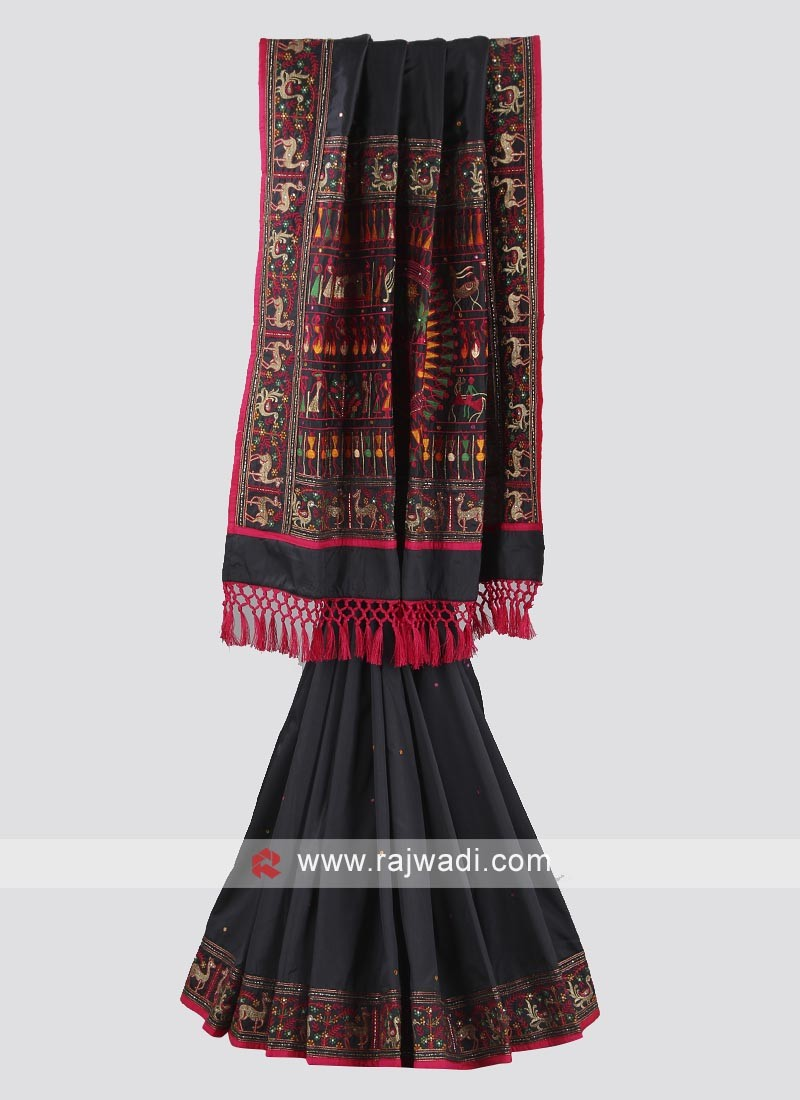 Dark grey and rani color chiffon silk saree