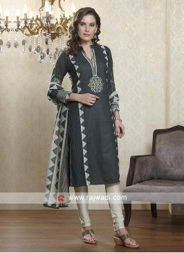 Dark Grey and Skin color salwar suit