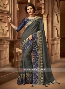 Dark Grey Art Silk Wedding Saree